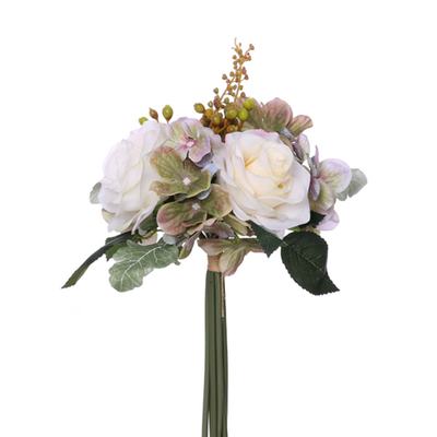 Rose, Hydrangea & Berry Bundle with Autumn Foliage - 28cm (Cream/Green/Lilac)