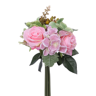 Rose, Hydrangea & Berry Bundle with Autumn Foliage - 28cm (Pink/Green)