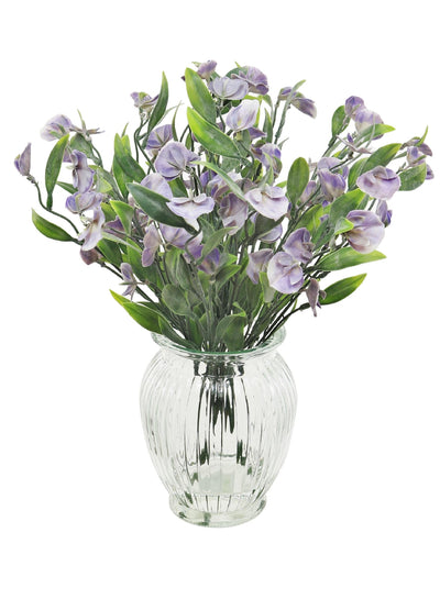 Sweetpea Arrangement in Ribbed Vase - 43cm