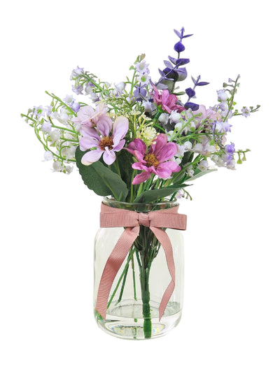 Daisy & Mini Bell Flower Arrangement - 28cm (Lilac)