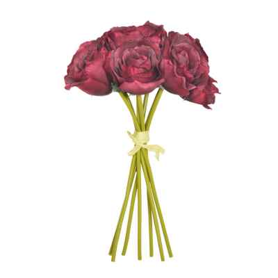 Hand Tied Bordeaux Open Rose Bundle - 26cm