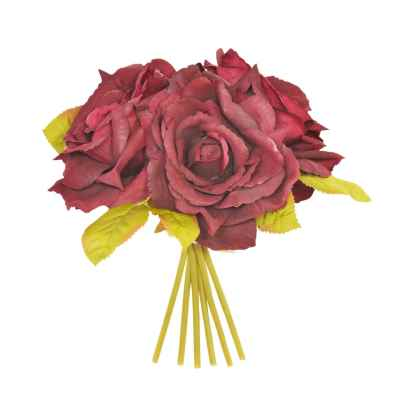 Bordeaux Open Rose x 3 Posy - 24cm