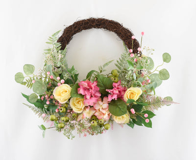 Floral Blossom Vine Wreath - 50cm