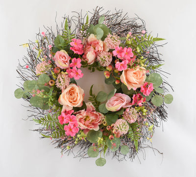 Peony & Rose Floral Wreath - 60cm