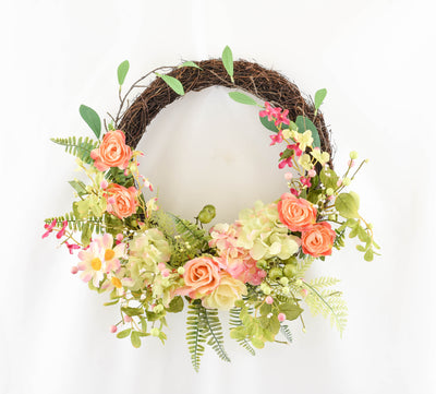Blush Garden Floral Vine Wreath - 50cm