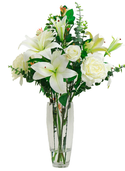 Rose & Lily Arrangement - 66cm (Ivory)