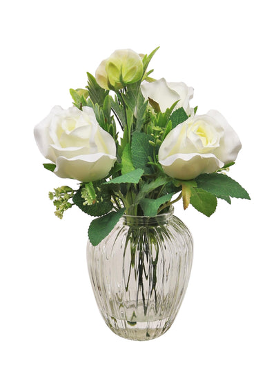 Bridal Rose In Round Ribbed Vase - 28cm (White)