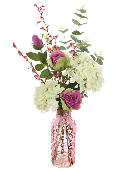 Hydrangea & Rose Vase Arrangement (Pink/Cream)