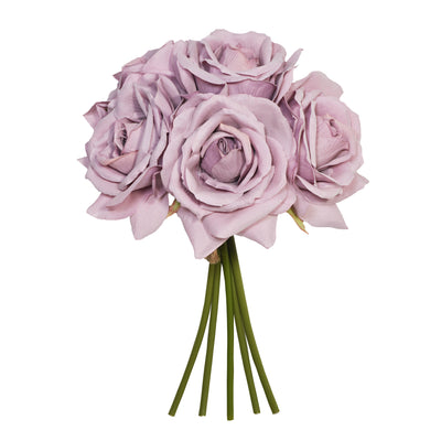 Lilac Open Rose x 5 Posy - 27cm