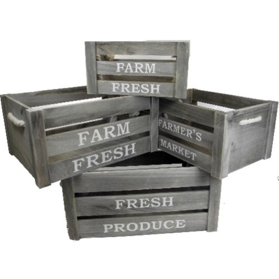 Set of Four Farmers Market Wooden Crates (Grey) with Rope Handles
