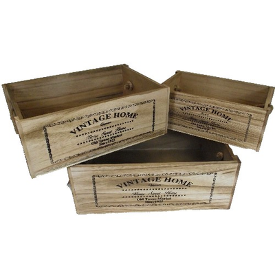 Set of Three Vintage Home Wooden Crates with Rope Handles