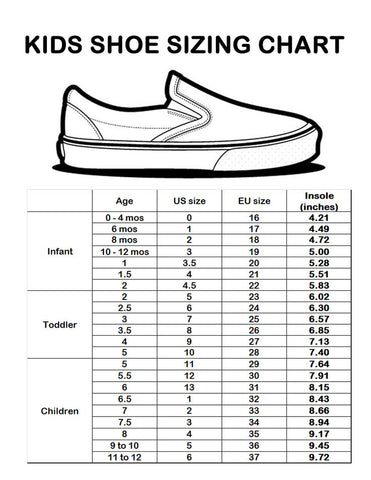 Kids Shoes sizes (Age, US, EU)