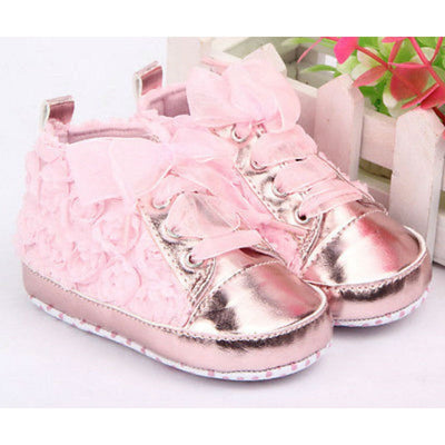 Baby Girl Cute Lace Floral Embroidered Soft Shoes - Leather Shoes Non-slip