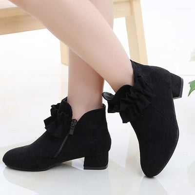 Lace up plush boots