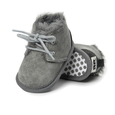 Winter Fur Snow Boots- Leopard Little Kids Strappy Shoes