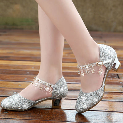 Kids high heel crystal shoes for party, dance, prom