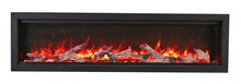 "SYM-60 Bespoke 60"" Electric Fireplace - Amantii - Clean face built-in with log and glass, black steel surround - Expression Fireplaces"