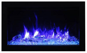 TRD-30 30 Inch Electric Fireplace - Amantii - includes a steel trim, glass inlay, 10 piece log set with remote and cord - Expression Fireplaces