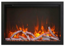 "38"" Fireplace – includes a steel trim, glass inlay, 10 piece log set with remote and cord - Expression Fireplaces"