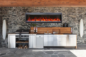"SYM-50 Bespoke 50"" Electric Fireplace - Amantii - Clean face built-in with log and glass, black steel surround - Expression Fireplaces"
