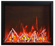 "48"" Fireplace – includes a steel trim, glass inlay, 20 piece log set with remote and cord - Expression Fireplaces"
