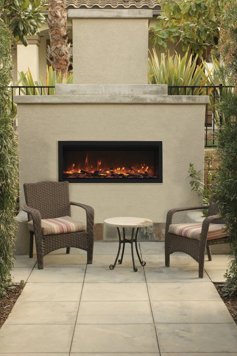 Remii 55″ Wide & 18″ High Electric Fireplace –  Indoor or Outdoor, Built-in only, with black steel surround - Expression Fireplaces