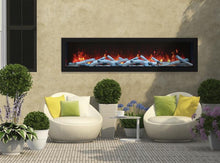 Remii 65″ Wide & 12″ Deep Electric Fireplace - Indoor or Outdoor, Built-in only with black steel surround - Expression Fireplaces