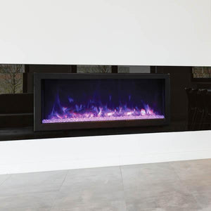 Remii 45″ Wide & 12″ Deep Electric Fireplace - Indoor or Outdoor, Built-in only with black steel surround - Expression Fireplaces