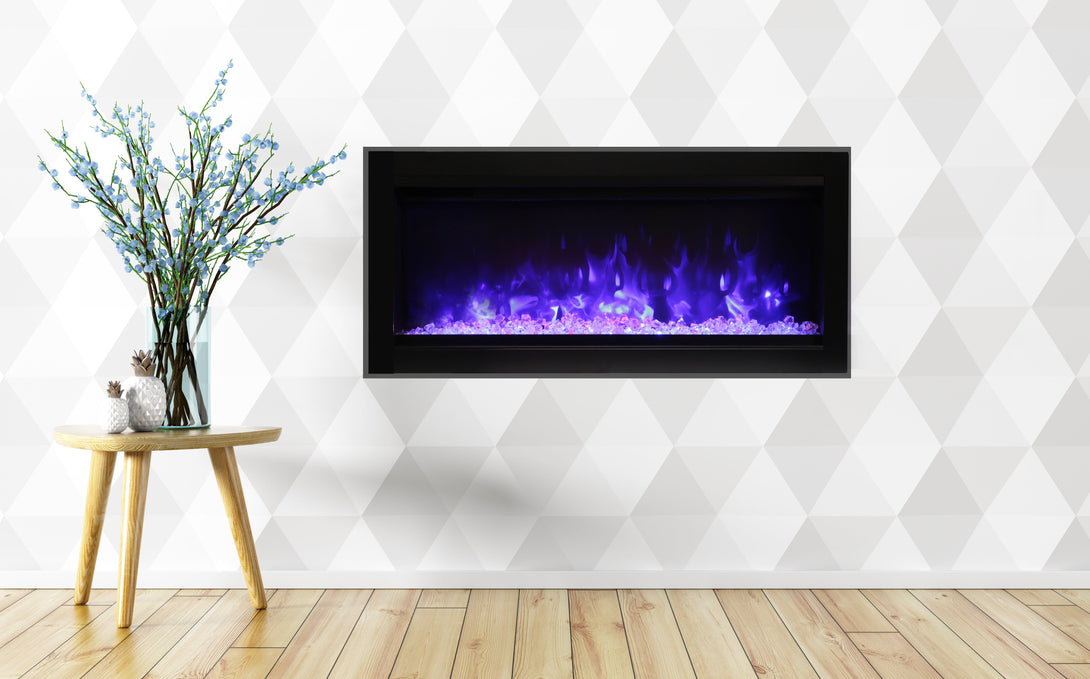 Amantii Symmetry B Series 34″ wide Electric Fireplace – basic, built-in with glass & black steel surround SYM-34-B - Expression Fireplaces