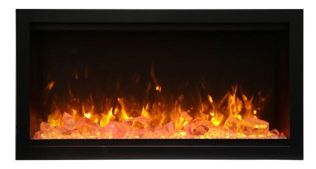 Amantii Symmetry Series 34″ Extra Tall Electric Fireplace – Clean Face, Built-in with log and glass, black steel surround SYM-34-XT - Expression Fireplaces