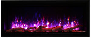 "Amantii Symmetry Series 50"" Wide Extra Tall Electric Fireplace – Clean Face, Built-in with log and glass, black steel surround - SYM-50-XT - Expression Fireplaces"