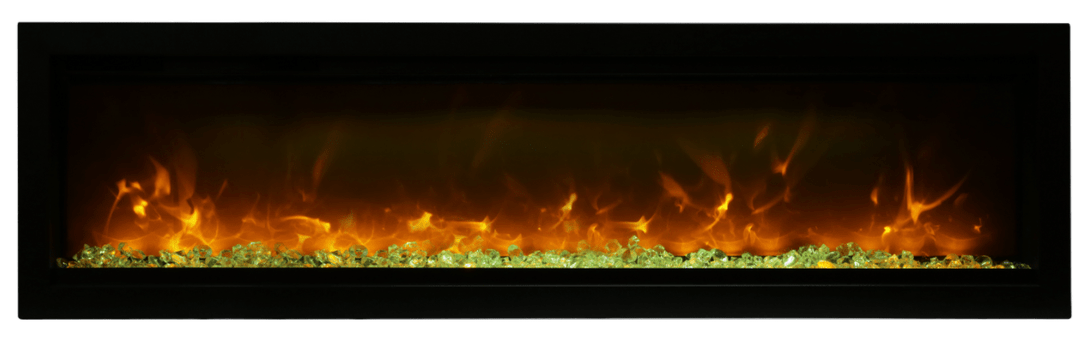 Amantii Symmetry B Series 60″ Wide Electric Fireplace – basic, built-in with glass & black steel surround - SYM-60-B - Expression Fireplaces