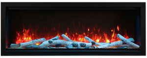 Amantii Symmetry Series 60″ Wide Extra Tall Electric Fireplace – Clean Face, Built-in with log and glass, black steel surround - SYM-60-XT - Expression Fireplaces