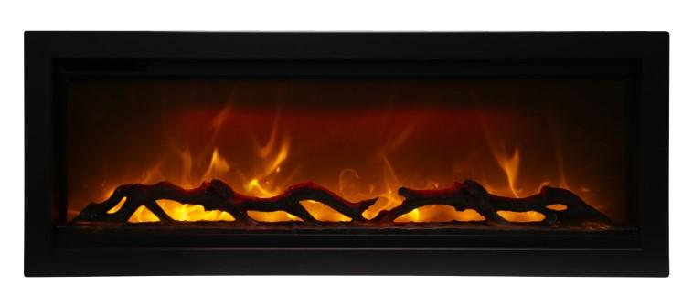 Amantii Symmetry Series 42″ Clean Face Electric Fireplace – Built-in with log and glass, black steel surround SYM-42 - Expression Fireplaces