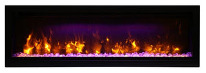 Amantii Symmetry Series 50″ Wide Electric Fireplace – Clean Face, Built-in with log and glass, black steel surround - SYM-50 - Expression Fireplaces