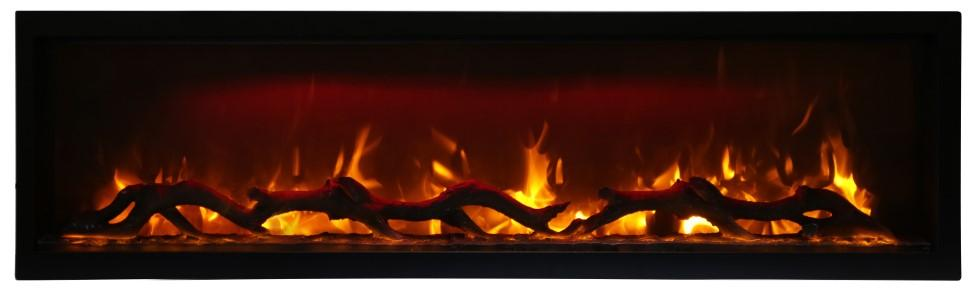 Amantii Symmetry 60 Inch Wide Electric Fireplace – Clean Face, Built-in with log and glass, black steel surround - SYM-60 - Expression Fireplaces