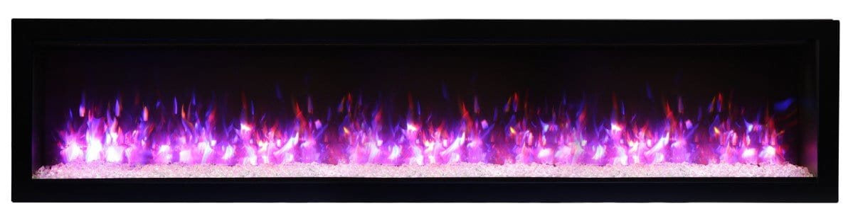 Amantii Symmetry B Series 74″ Wide Electric Fireplace – basic, built-in with glass & black steel surround - SYM-74-B - Expression Fireplaces
