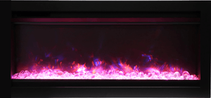 Amantii SYM-34 34 in. Clean Face Electric Built-In with Log & Glass Black Steel Surround - Expression Fireplaces