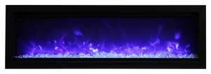 "Amantii Symmetry B Series 50"" Wide Electric Fireplace – 50″ wide, basic, built-in with glass & black steel surround - SYM-50-B - Expression Fireplaces"