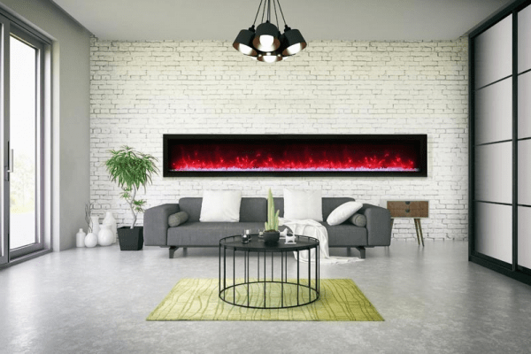 Remii 100″ Wide Electric Fireplace – basic, built-in with glass and black steel surround WM-100-B - Expression Fireplaces