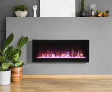 Remii 42″ Wide Electric Fireplace – basic, built-in with glass and black steel surround WM-42-B - Expression Fireplaces
