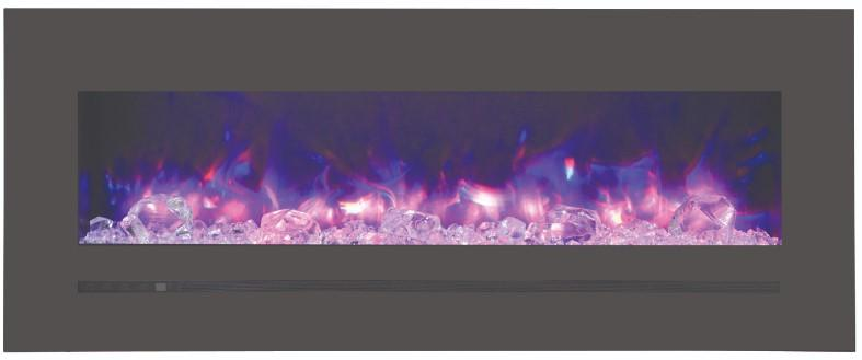 WM-FML-48-5523-STL Linear Electric Fireplace with Deep Charcoal Colored Steel Surround - Expression Fireplaces