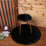 Soft Luxury Plush Artificial Sheepskin Rug Chair Cover Bedroom Mat Decorative Wool Warm Hairy Carpet Seat Covers Washable Round
