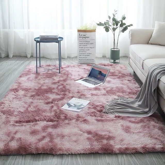 Grey Carpet Tie Dyeing Plush Soft Carpets For Living Room Bedroom Anti-slip Floor Mats Bedroom Water Absorption Carpet Rugs