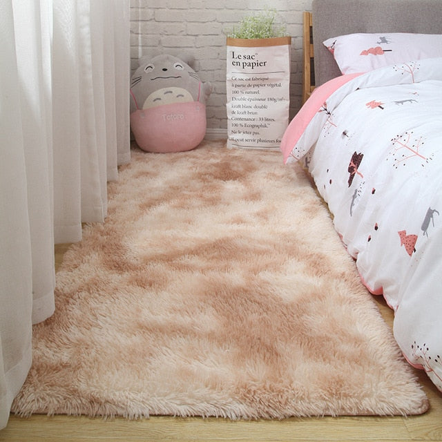 Pink carpet for girls shaggy Children's floor soft mat room decoration teenager nordic rectangle red fluffy large size rugs