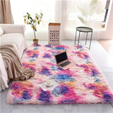 Rainbow carpet gradient tie-dye plush rug living room coffee table pad carpet bedroom bedside bay window rug baby crawling mat