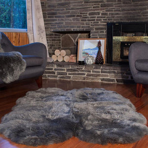 Load image into Gallery viewer, Four Piece Longwool Sheepskin Rug - Dover Grey