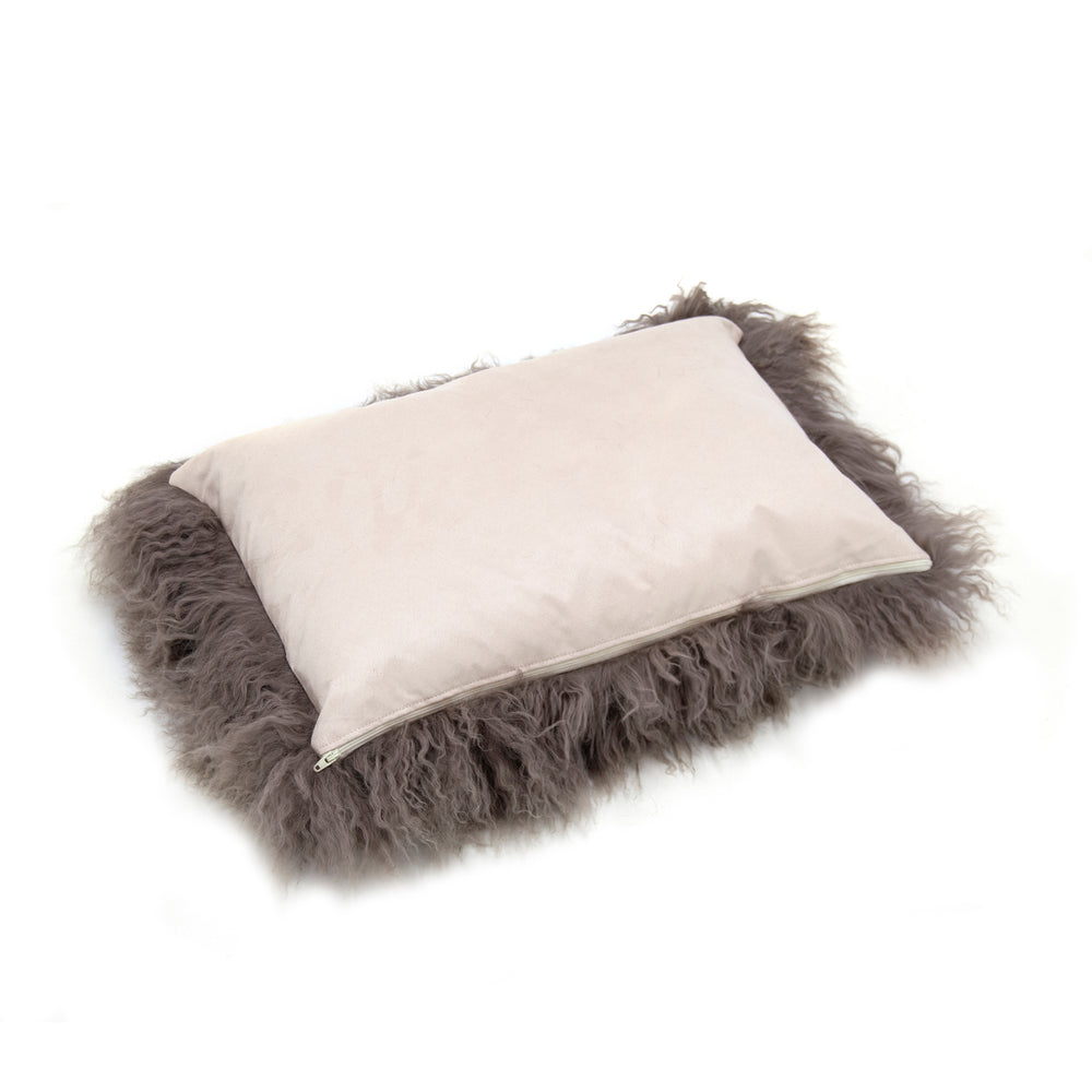 Tibetan Lamb Cushion Cover - Mushroom