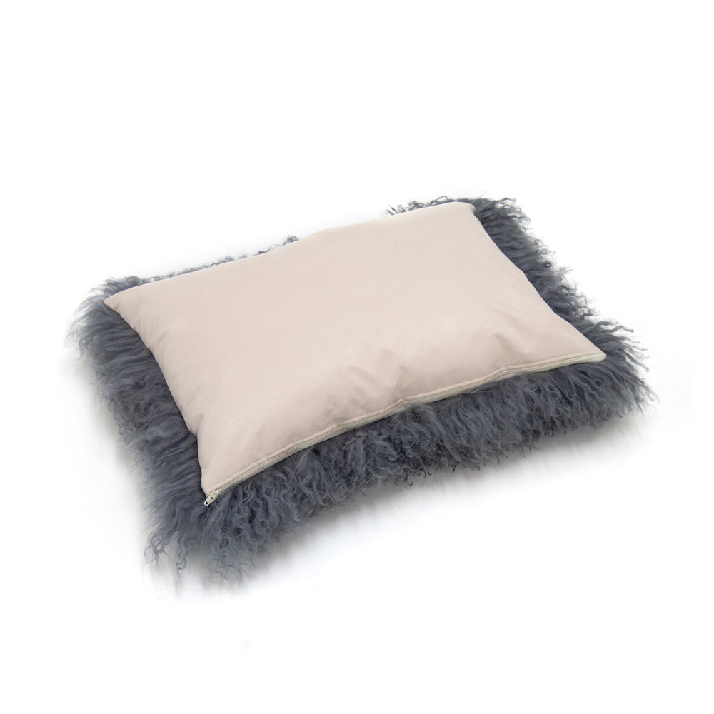 Load image into Gallery viewer, Tibetan Lamb Cushion Cover - Steel