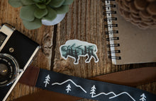 Load image into Gallery viewer, Bison shaped Landscape Sticker design with trees and mountains